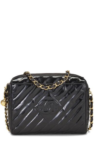 Black Patent Leather Diagonal Camera Bag Large