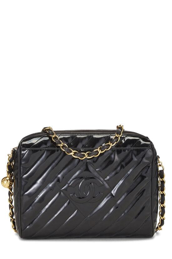Black Patent Leather Diagonal Camera Bag Large, , large image number 0