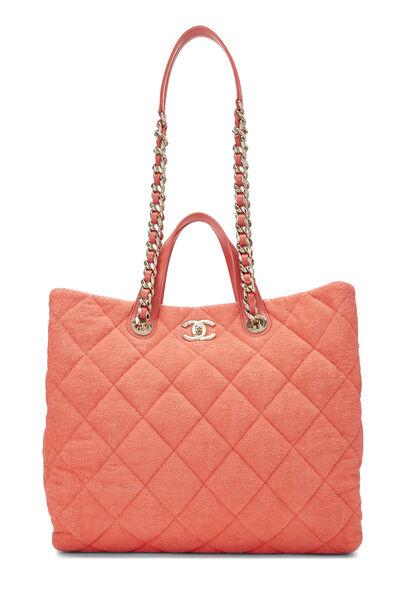 Orange Terry Cloth Coco Beach Shopping Bag, , large