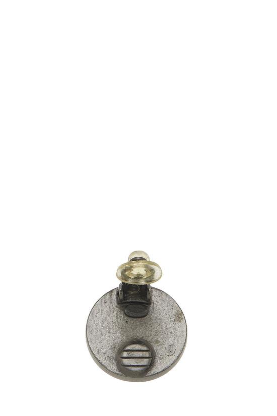 Gunmetal & Black Leather 'CC' Earrings, , large image number 2