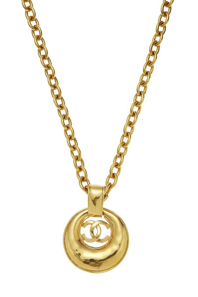 Gold 'CC' Long Chain Necklace, , large