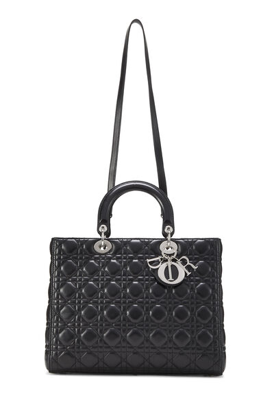 Black Cannage Quilted Lambskin Lady Dior Large, , large