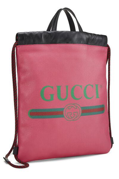 Pink Leather Drawstring Backpack, , large