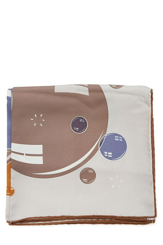 Grey & Multicolor 'Bal des Bulles' Silk Scarf 90, , large image number 1