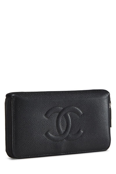 Black Quilted Caviar Zip Wallet, , large