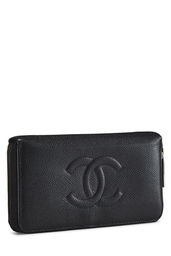Black Quilted Caviar Zip Wallet, , large image number 1