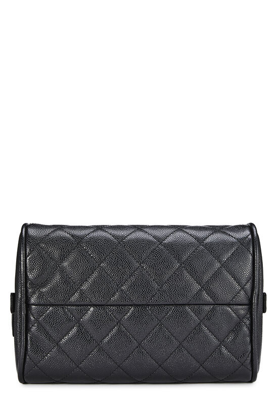 Black Quilted Caviar Bowler Small, , large image number 4