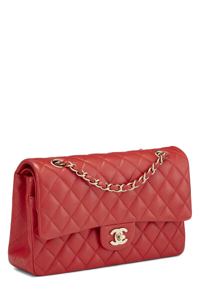Red Quilted Lambskin Classic Double Flap Medium, , large