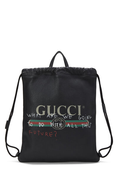 Coco Capitán x Gucci Black Leather Logo Drawstring Backpack