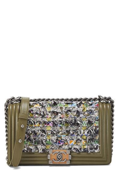 Green Leather & Bouclé Boy Bag Medium