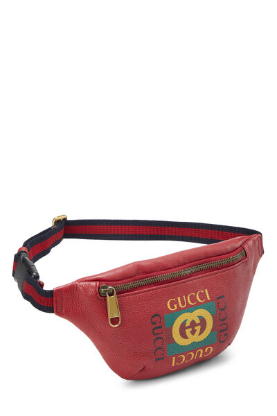 Red Leather Logo Belt Bag Small, , large