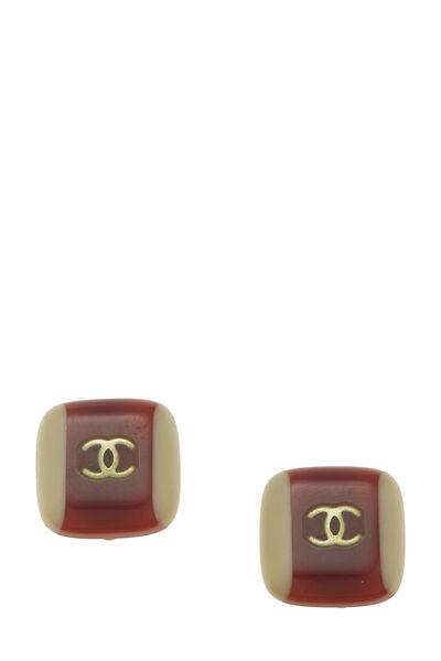Brown & Beige Acrylic 'CC' Earrings