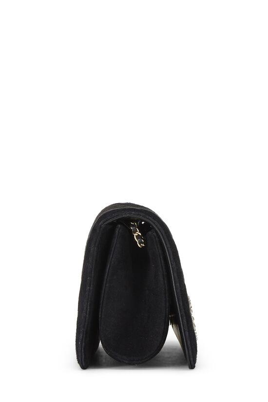 Black Quilted Suede Embellished 'CC' Clutch, , large image number 2
