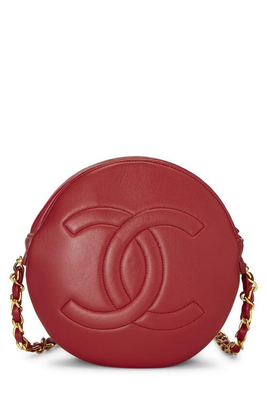 Red Lambskin 'CC' Round Shoulder Bag, , large image number 2