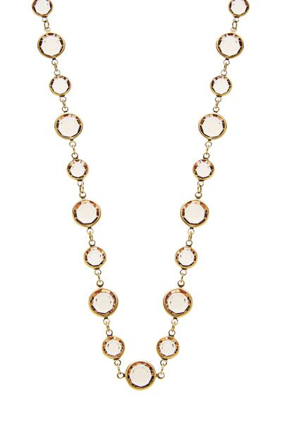 Gold & Brown Crystal Necklace, , large