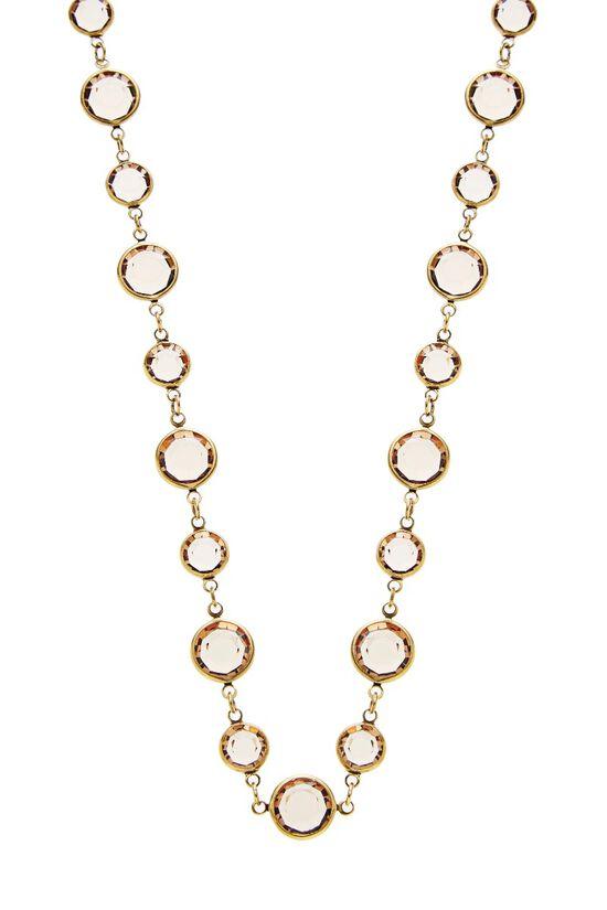 Gold & Brown Crystal Necklace, , large image number 1
