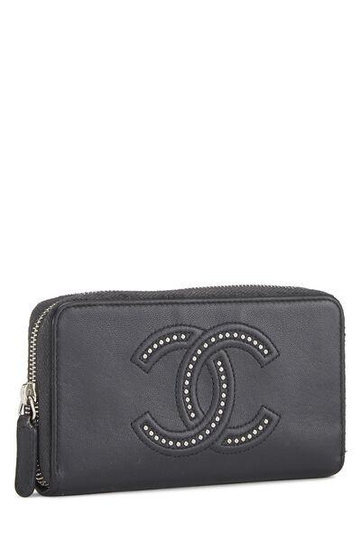 Black Calfskin Stud 'CC' Zip Wallet Small, , large