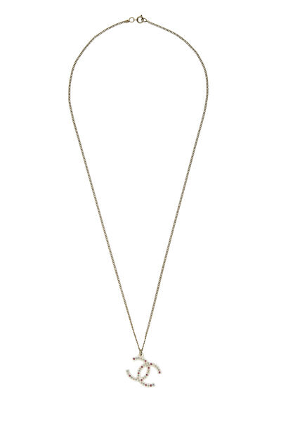 Gold & Pink Crystal 'CC' Necklace