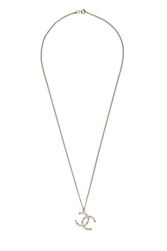Gold & Pink Crystal 'CC' Necklace, , large image number 0