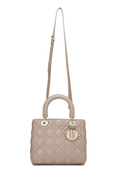 Taupe Cannage Quilted Lambskin Lady Dior Medium, , large