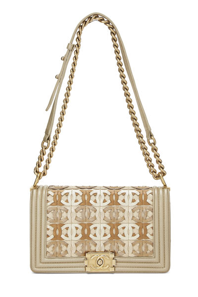 Paris-Dubai Gold Leather Woven 'CC' Boy Bag Medium, , large