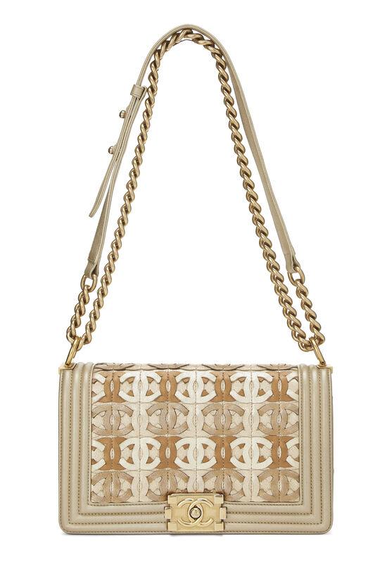 Paris-Dubai Gold Leather Woven 'CC' Boy Bag Medium, , large image number 1