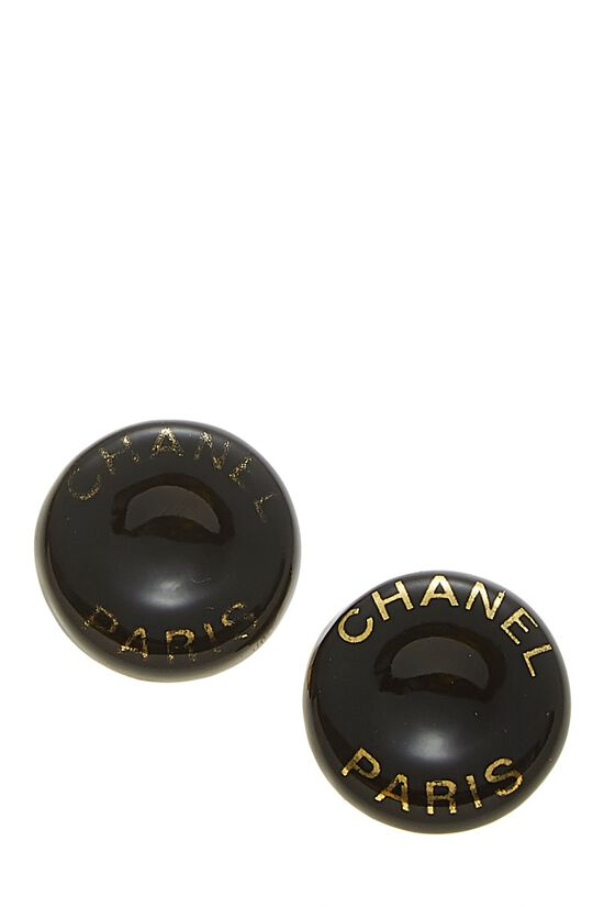 Black Acrylic Button Earrings, , large image number 0