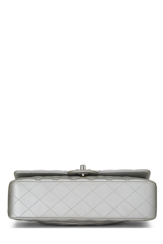 Metallic Silver Quilted Lambskin Classic Double Flap Medium, , large image number 4