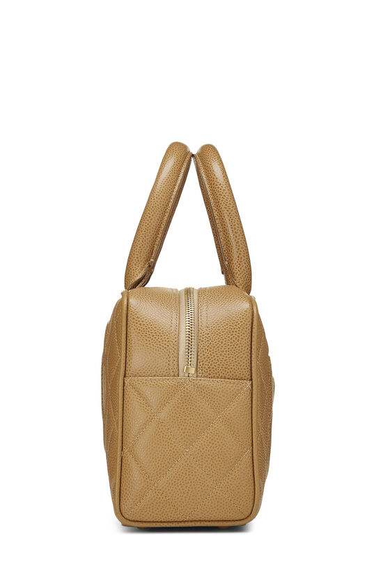 Beige Quilted Caviar Bowler Mini, , large image number 2