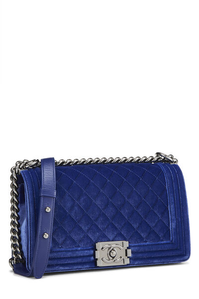 Blue Quilted Velvet Boy Bag Medium, , large