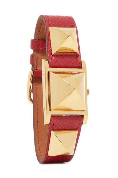 Red Courchevel & Gold Medor Watch