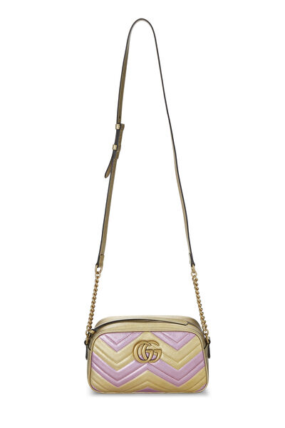 Pink & Gold Leather GG Marmont Crossbody Small, , large