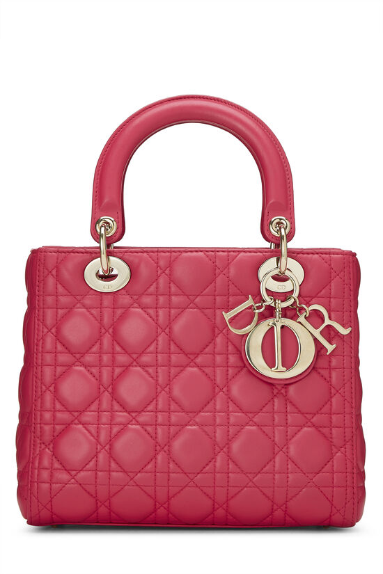 Pink Cannage Quilted Lambskin Lady Dior Medium, , large image number 0