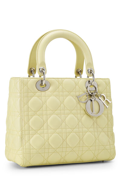 Yellow Cannage Quilted Lambskin Lady Dior Medium, , large