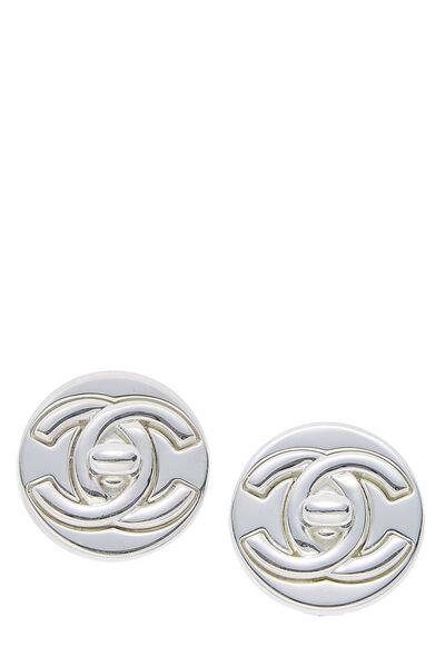 Silver 'CC' Turnlock Circle Earrings Large