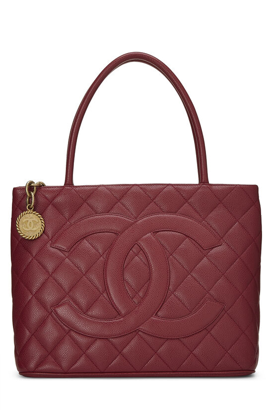 Burgundy Quilted Caviar Medallion Tote, , large image number 0