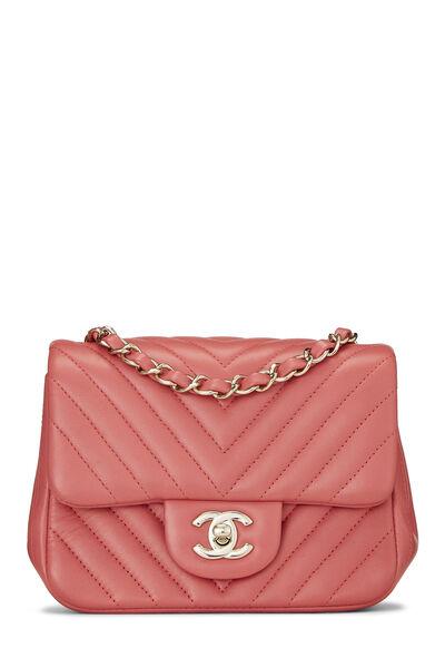 Pink Chevron Lambskin Classic Square Flap Mini