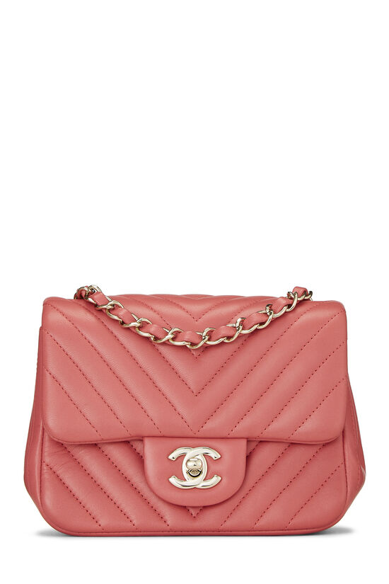 Pink Chevron Lambskin Classic Square Flap Mini, , large image number 0