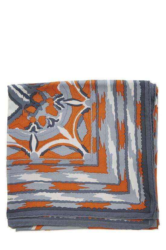 Orange & Grey 'Ginza 2001' Silk Scarf 90, , large image number 1