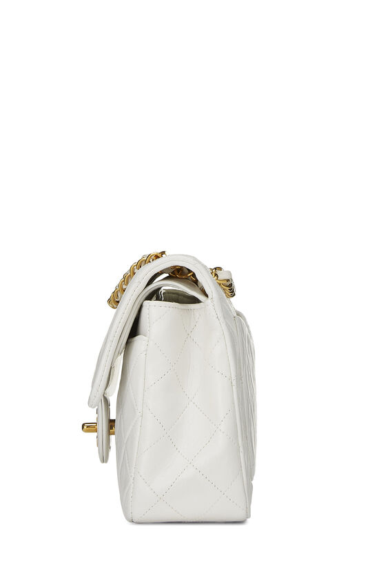 White Quilted Lambskin Classic Double Flap Small, , large image number 2