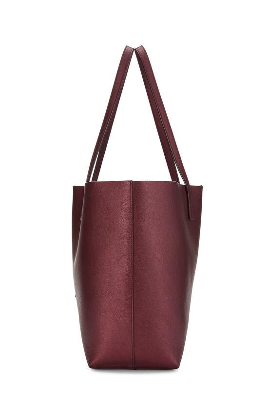 Metallic Burgundy Leather Shopping Bag East/West, , large image number 2