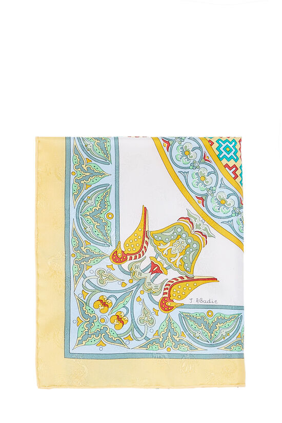Yellow & Multicolor 'Ciels Byzantins' Silk Scarf 90, , large image number 1