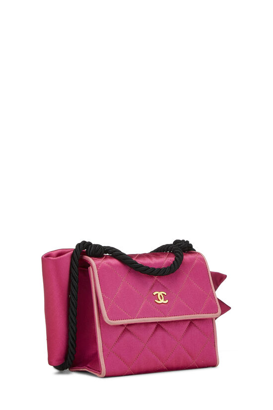 Pink Quilted Satin Bow Bag, , large image number 2