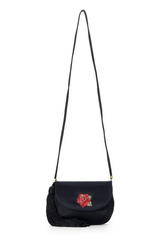Black Satin Floral Embellished Shoulder Bag, , large image number 6