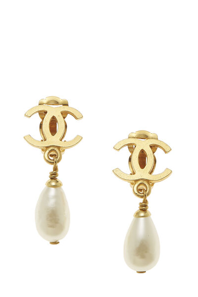 Gold & Faux Pearl 'CC' Dangle Earrings Small