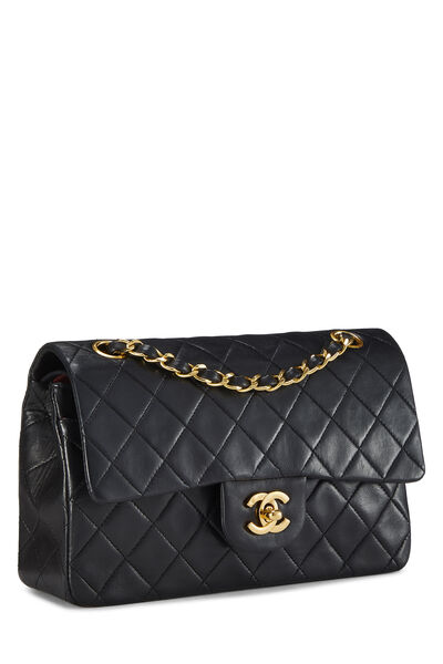 Black Quilted Lambskin Classic Double Flap Small, , large