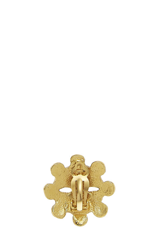 Gold CC Wheel Earrings, , large image number 1