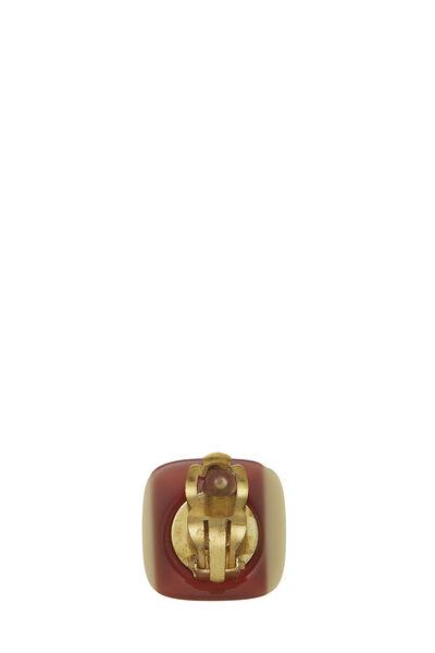 Brown & Beige Acrylic 'CC' Earrings, , large