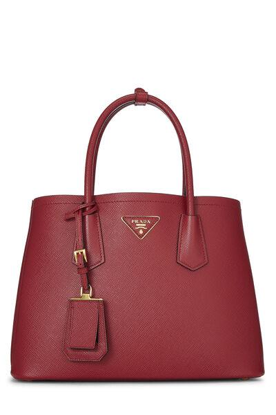 Red Saffiano Double Bag Small