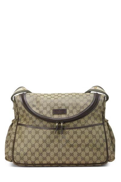 Green GG Canvas Diaper Bag